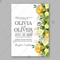 wedding photo - Wedding invitation card Template Yellow rose
