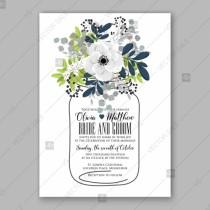 wedding photo - Anemone Wedding invitation card in light gray and navу leaves
