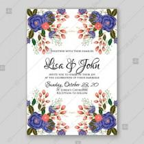 wedding photo - Blue, red rose ranunculus wedding invitation card template printable