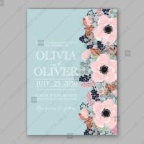 wedding photo - Pink Anemone wedding invitataion vector template