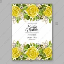wedding photo - Yellow rose floral wedding Invitation printable vector template