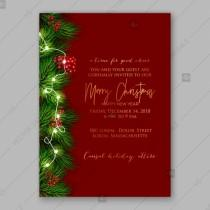 wedding photo - Christmas Party Invitation with wreath of pine branches and red berry, christmas lights garland