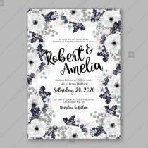 wedding photo - Anemone Wedding Invitation Card Vector Template