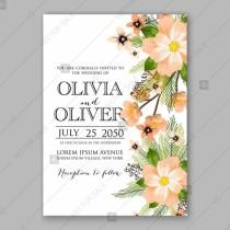 wedding photo - Anemone Peony Wedding Invitation Card printable template
