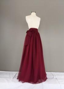 wedding photo - GARNET Chiffon skirt, any length and color Bridesmaid skirt, floor length, tea length, knee length empire waist chiffon skirt
