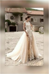 wedding photo - Wedding dress light Peach Echo and white colors with detachable train, tulle bridal removable skirt with train