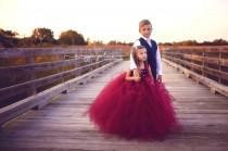 wedding photo - Flower girl dress - Tulle flower girl dress - Wine Dress - Tulle dress-Infant/Toddler - Pageant dress - Princess dress - Wine flower dress