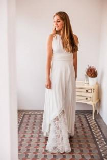 wedding photo - Open front wedding dress, open front lace wedding dress, high low bridal gown, ivory lace bridal gown with slit, crossed skirt bridal gown