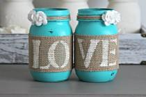 wedding photo - Rustic Engagement Gift-Wedding Gift-Bridal Shower Decor-Gift for couple-Wedding Table Centerpieces-Table Decor-Rustic Turquoise Home Decor