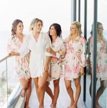 wedding photo - Set of 5 Bridesmaids Robes, Floral Bridesmaids Robes, Satin Bridesmaids Robes, Kimono Bridesmaids Robes, Bridesmaids Robes Gifts