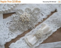 wedding photo - 20% SALE Wedding Garter Set, Bridal Garter Set, Vintage Wedding, Ivory Lace Garter, Crystal Garter Set, Ivory Garter-Style 300