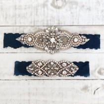 wedding photo - Rose gold Bridal Garter, navy garter, NO SLIP Lace Wedding Garter Set, bridal garter set, vintage something blue