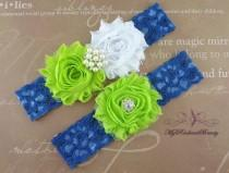 wedding photo - Wedding Garter, Garter, Bridal Garter, Lime Green and White Shabby Rosettes Chic Garter Set, Garter Belt, Wedding Handmade Garter GTF0049