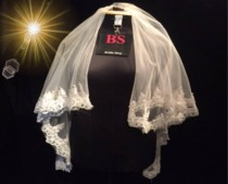 wedding photo - mantilla Wedding veil , Ivory Lace Veil Fingertip Length, veil chapel light ivory, diamond white blush, 108 inch single tier sheer Veil
