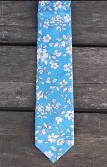 wedding photo - Blue & White Floral Skinny Tie, Free Shipping