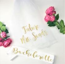 wedding photo - Bachelorette Sash and Veil, Bride to Be Veil,  Future Mrs Veil, Bachelorette Party Veil, Personalized Veil, BACHELORETTE Style M