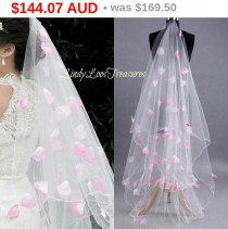 wedding photo - Christmas Sale 3M Wedding Bridal White Veil Pink Flower Petals, White Tulle Drop Veil, Wedding Veil w/ Petals, White Wedding Veil with Pe...
