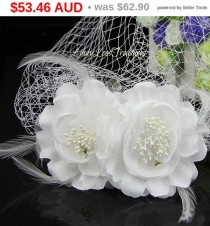 wedding photo - Christmas Sale White Feather Flower Birdcage Veil, Birdcage Bridal Veil Beaded Wedding Face Veil Fascinator, Birdcage veil with flowers, ...
