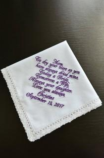 wedding photo - Plum wedding, Bridal handkerchief Mother of the bride handkerchief Wedding keepsake Personalized hankies Embroidered hankie Wedding favor