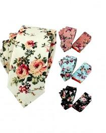 wedding photo - Floral Tie Wedding Tie Groomsman Necktie Sets with Pocket Squares Pink White Black Blue Slim Neckties Groomsmen Groom Best Man Boxing Day