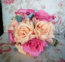 wedding photo - Peach and Pink Rose Bouquet - Silk Wedding Bouquet