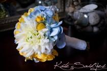 wedding photo - Silk Wedding Bouquet - Blue Hydrangeas, Yellow Ranunculus, Billy Buttons, Roses, and Mums - Small Bouquet