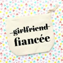 wedding photo - Girlfriend to Fiancee makeup bag, Mrs makeup bag, Feyonce pouch, Bride to Be gift, Engagement Gift, canvas zippered pouch, valentine's day