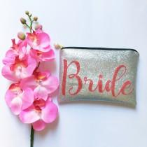wedding photo - Personalised Bridal clutch bag, Bridal clutch bag, Wedding day clutch bag, Glitter Bridal Bag, Bride to be clutch bag, Gift for Bride