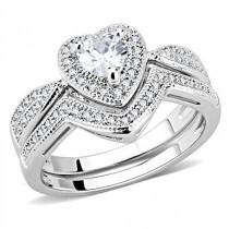 wedding photo - 1.2CT Heart Cut Halo Russian Lab Diamond Bridal Set Rings
