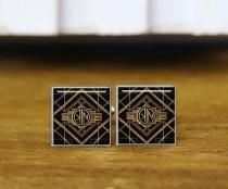 wedding photo - 1920s Style Cufflinks, custom initial cufflinks, custom 2 letter. round or square cufflinks & tie clip, personalized wedding cufflinks
