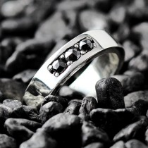 wedding photo - Black Diamond Ring Mens and Womens Sterling Silver Wedding Band