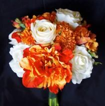 wedding photo - Fall Wedding Natural Touch Orange Peonies, Roses and Mums Silk Flower Bride Bouquet - Almost Fresh