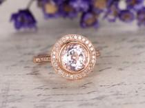 wedding photo - Morganite engagement ring with diamond,Solid 14k Rose gold bridal ring,8mm Round cut gem,halo anniversary ring custom made fine jewelry