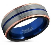 wedding photo - Tungsten Blue Ring Rose Gold Wedding Band  Tungsten Carbide 8mm 18K Tungsten Ring Man Wedding Band Male Women Anniversary Matching