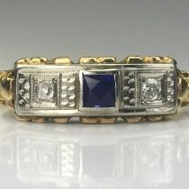 wedding photo - Vintage Sapphire and Diamond Ring. 14K Gold Art Deco. Unique Engagement Ring. September Birthstone. 5th Anniversary Gift. Estate Jewelry