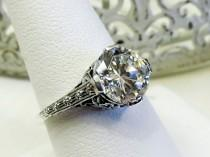 "wedding photo - Vintage Style Sterling Silver ""Diamond"" CZ Solitaire Engagement Ring Sz 8/ Engraved Floral Filigree Platinum Dipped"