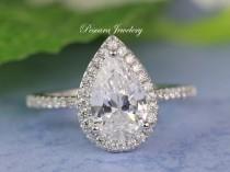 wedding photo - Pear Cut Halo Ring - Pear Cut Ring - Promise Ring - Wedding Ring - Pear Shaped Ring - CZ Diamond Stimulant - 2.6ct tw - Sterling Silver