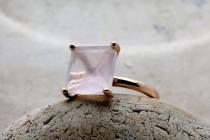 wedding photo - CHRISTMAS SALE - love stone ring,rose quartz ring,pink square ring,gemstone ring,pink ring,pink quartz ring,rose gold ring