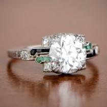 wedding photo - Original Art Deco 2.08ct Vintage Emerald Onyx and Diamond Engagement Ring I/VS2 GIA