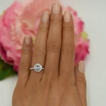 wedding photo - 3.25 ctw Round Accented Solitaire Ring, Engagement Ring, Half Eternity Band, Bridal Ring, 3 ct Man Made Diamond Simulant, Sterling Silver