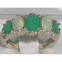 wedding photo - 14K White Gold Natural Emerald & Colorful Opal Engagement Ring English Vintage Design Half Eternity Band - Customize: 9K,10K,14K,18K