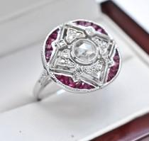 wedding photo - Art Deco Engagement Ring 14k White Gold 1.08ctw Genuine Old Rose Cut Diamond & Genuine Red Ruby Statement Engagement Ring 3.4g sz 6.75