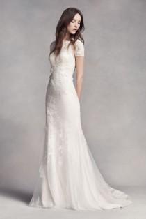 wedding photo - White By Vera Wang Short Sleeve Lace Wedding Dress Style VW351312