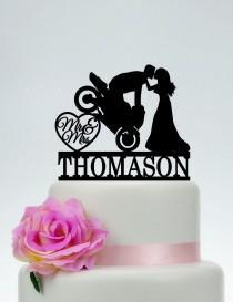 wedding photo - Motorcycle Wedding Cake Topper,Mr And Mrs Cake Topper,Groom On Motorcycle,Custom Cake Topper,Funny Cake Topper,Motorbike Cake Topper  C187