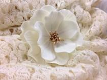 wedding photo - White and Gold Open Rose Sugar Flower, wedding cake topper, gumpaste flowers, modern wedding, boho chic wedding, white sugar flowers