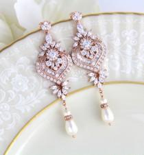 wedding photo - Rose Gold earrings, Bridal earrings, Wedding jewelry, Wedding earrings, Statement earrings, Chandelier earrings, Bridal jewelry earrings
