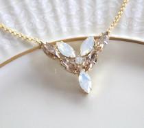 wedding photo - Crystal Bridal necklace, White opal necklace, Bridal jewelry, Wedding necklace, Swarovski necklace, Golden shadow, Gold necklace, Bridesmaid