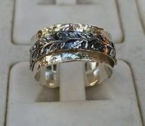 wedding photo - Silver Spinner Ring ,Leaves Silver Ring ,Sterling Silver 925 Ring ,Unisex Spinner Ring ,Wedding Spinner Ring ,Bride And Groom Wedding Band