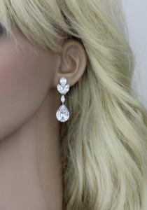wedding photo - Crystal Bridal earrings, Teardrop Wedding earrings, Bridal jewelry, Cubic zirconia earrings, CZ earrings, Clip on earrings, Bridesmaid gift