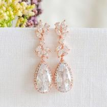 wedding photo - Rose Gold Wedding Earrings, Bridal Earrings, Crystal Leaf Earrings, Teardrop Dangle Earrings, Vintage Style Wedding Bridal Jewelry, CAMRYN